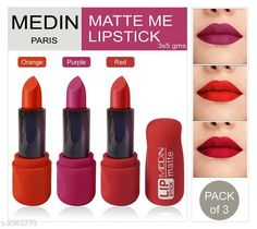 Checkout this latest Lipsticks Product Name: * Medin Paris Super Matte Lipstick with New Sades (Pack of 3) * Product Name:  Medin Paris Super Matte Lipstick with New Sades (Pack of 3)  Brand Name: Medin Paris Finish: Matte Color: Combo Of Different Color Type: Stick Multipack: 3 Country of Origin: India Easy Returns Available In Case Of Any Issue   Catalog Rating: ★4 (3096)  Catalog Name: Medin Paris Super Matte Lipstick Combo Vol 1 CatalogID_404046 C171-SC2005 Code: 562-2963773-495