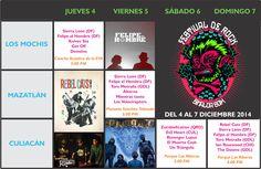 Programación general del Festival de Rock Sinaloa 2014. Del 4 al 7 de diciembre de 2014. Los Mochis | Mazatlán | Culiacán