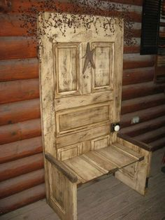 The other day we showed you a bench made from an old bed. Here's one made from an old door.