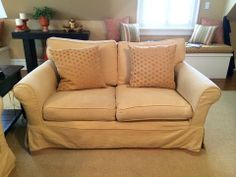 Slipcovered Down Filled Love Seat