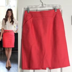 """J.Crew Coral Pencil Skirt NO OFFERSPRICE IS FIRM EXCELLENT CONDITION.Cotton. Sits at waist. 21 1/2"""" long. Back zip..coral color J. Crew Skirts Pencil"""