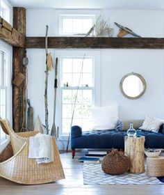 blue couch, beachy look