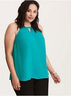"""<div><div>The tank top gets a reboot and it's much more sophisticated than the original. Swathed in a lightweight, semi-sheer, and eye-popping teal georgette, the swingy style gets fancy with an elegant keyhole mock neck. Stretch back.</div></div><div><br></div><div><b>Model is 5'10"""", size 1</b></div><div><ul><li style=""""list-style-position: inside !important; list-style-type: disc !important"""">Size 1 measures 29 1/4"""" from shoulder</li><li style=""""list-style-position: inside !import..."""