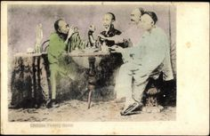 Postcard China. Four men drinking tea | akpool.co.uk