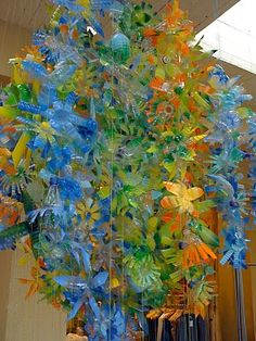 recycled bottles... did variation for tree leaves for a tree prop, and there was one of these at the Edmond Fine Arts Institute.