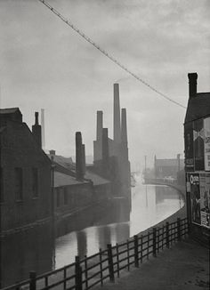 (Emil Otto Hoppé The Canal, Manchester, Lancashire 1925 Copyright © 2012 Curatorial Assistance, Inc. Manchester City, Manchester England, Manchester Lancashire, Old Pictures, Old Photos, Salford, Industrial Photography, Second Empire, British History