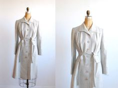 vintage trench coat wool 1960s gray belted by thegreedyseagull, $88.00