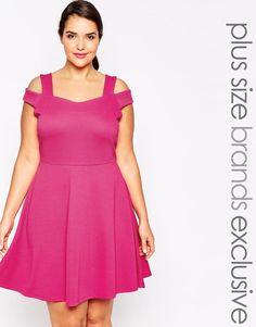 Pink | Pink Clove Bardot Strap Skater Dress at ASOS