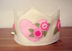 Felt Crown with Heart and Flowers  READY TO by pixieandpenelope, $20.00