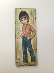 """1970s decorative """"big eye"""" boy picture these were everywhere in the 70s."""