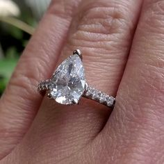 This stunning diamond engagement ring is crafted in solid 14k white gold. Displaying a three-prong set GIA certified pear diamond approx. 1.70 carats, D color, VS2 clarity. Yellow Diamond Engagement Ring, Pear Diamond, Antique Engagement Rings, Prong Set, Clarity, White Gold, Color, Colour, Colors