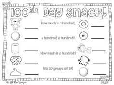 100th day snack freebie
