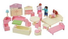 Gee Home Wooden Dolls House And Furniture Bundle Toys