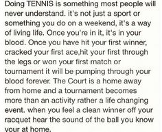 Life of a tennis player