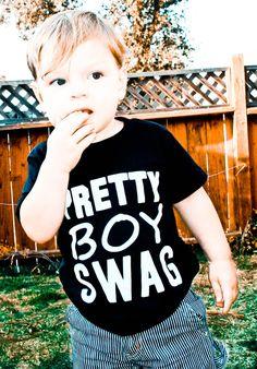 """""""pretty boy swag"""" black toddler tee  www.polkadotkids.net"""