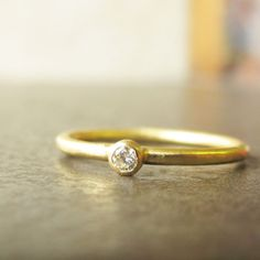 Diamond Engagement Ring - Simple 18k Gold Wedding Ring - Diamond Solitaire - Eco-Friendly Recycled Gold