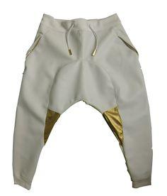white leather drop crotch pants