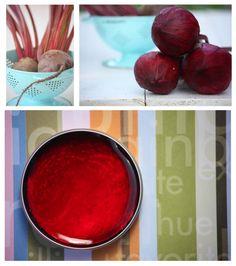 Beet Root Lip & Cheek Tint Recipe  DIY Organic Beauty Book-- full of recipes for non-toxic cosmetics