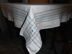 Vintage FARMHOUSE Picnic Glamper Blue Yellow White Tablecloth Woven border 46X62