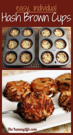 Individual Parmesan Hash Brown Cups.  So easy! www.theyummylife.com/Parmesan_Hash_Brown_Cups