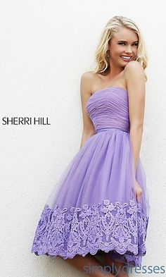Strapless Knee Length Dress by Sherri Hill at SimplyDresses.com