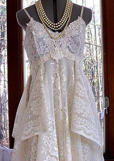 RESERVED FOR SHANNON Empire waist tattered wedding dress