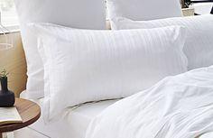 Sheridan Arlo Tailored Pillowcase Pair 100% Cotton White Self- Stripe