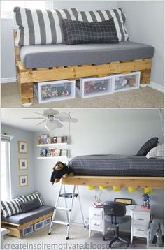 20+ Incredible DIY Pallet Furniture for Kids---Pallet Couch with Storage