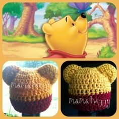 Handmade Crocheted Crochet Newborn Photo Photography Prop Winnie the Pooh Disney Baby Hat by mamatwiggy on Etsy, $15.00 | best stuff