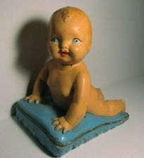 Antique Vintage Chalkware Piano Baby Doll Figurine