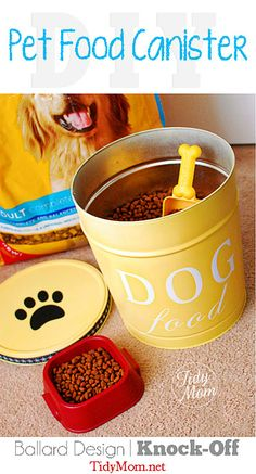 Super cute made from popcorn tin, too bad this would need to be refilled too often in this houselhold 12 DIY Essentials for your Pampered Pooch at TidyMom.net | DIY Custom Dog Food Canister