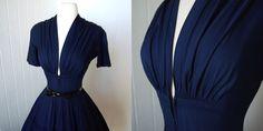 vintage 1940's dress  ...vavavoom forties navy cotton full
