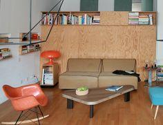 Cloison Living-Salle d'eau et bibliothèque horizontal / Archi : ATELIER PREMIER ETAGE