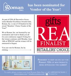 "Thank you all again for Roman's nomination for ""Vendor of the Year!"" Don't forget to vote!"