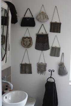 Vintage Purses, Vintage Handbags, Purse Organization, Organizing, Handbag Display, Beaded Purses, Vintage Bottles, Beach Condo, Black Accents