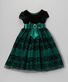 Jayne Copeland Green Velvet Lace Bow Dress - Toddler & Girls by Jayne Copeland Little Girl Outfits, Little Girl Dresses, Kids Outfits, Girls Dresses, Fashion Kids, Toddler Fashion, Toddler Girl Style, Toddler Girl Dresses, Toddler Girls