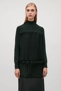 COS image 2 of Knitted top with pleats  in Black