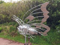 Flying Butterfly sculpture | 1.2m long | Galvanised steel finish | Commissioned for a private garden | April 2017 Thrussells ©️