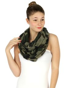Camo infinity scarf that can be worn multiple ways. Visit our website or contact your TRS representative!