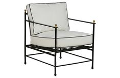 Our elegant Frances Lounge Chair looks totally timeless in black piped white sunbrella fabric, accented with brass finials on a slim black iron frame. Iron Patio Furniture, Outdoor Dining Furniture, Lounge Furniture, Outdoor Chairs, Outdoor Living, Industrial Furniture, Beautiful Home Designs, Interior Walls, Table And Chairs