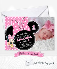 Disney Baby Minnie Mouse Birthday Photo Invitations by Andabloshop