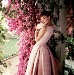 """(3 pictures) August 1955, Audrey Hepburn photographed by Norman Parkinson  at the Villa Rolli, Cecchina, near Rome  (a villa outside Rome, rented by Audrey and her husband Mel Ferrer) during a break in the filming of """"War and Peace.""""   PI   (3 pictures)"""