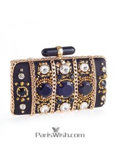 Black With Gold Stone Cocktail Prom Clutches Online