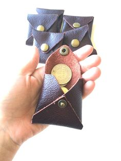 Pocket coins in real brown leather square of Handcrafted with upcycled laether.