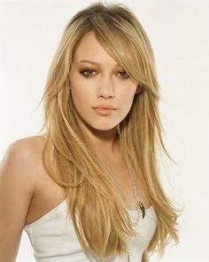 long hair cut with layers and side bangs