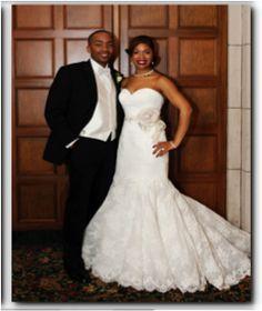 What a handsome couple?!  Pictured: Jamal and Courtney Adams (bride pictured in Allure)  #weddingdresses #metrodetroit #bridalsalons #wedding #ashleyandalexandriasbridal