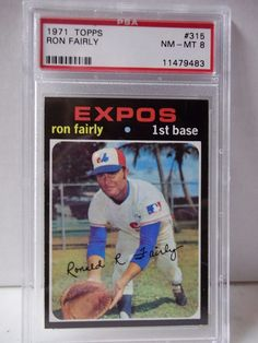 1971 Topps Ron Fairly PSA Graded NM-MT 8 Baseball Card #315 MLB Collectible #MontrealExpos