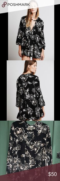 NWOT Free People retro swing floral tunic Never worn! Super cute and boho! Make an offer (originally $118) Free People Tops Tunics