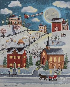 Browse through images in Mary Charles' Mary Charles--Folk Art collection. A collection of folk art by Pennsylvania artist, Mary Charles Amish Community, Painting Snow, Thing 1, Christmas Art, Christmas Scenes, Christmas Paintings, Moon Art, Collage Art, Folk