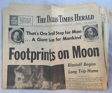 7-21-1969 Dallas Times Herald Newspaper Footprints On Moon Placing Flag